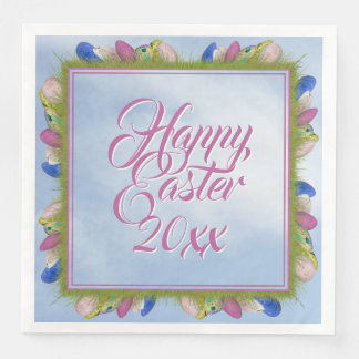 Happy Easter - Floral Photography Easter Eggs (SQ) Disposable Serviette