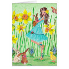 Happy Easter Flowers Girl | Easter Card