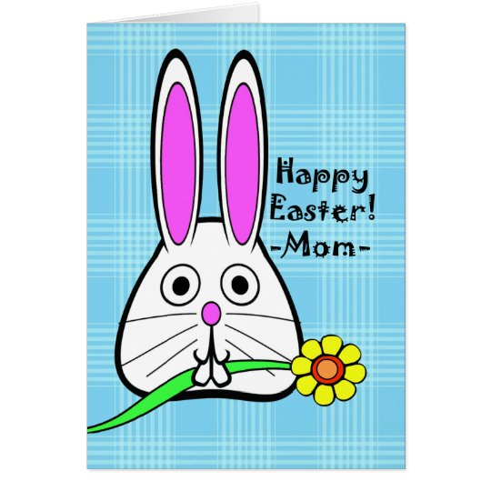 Happy Easter for Mum, Cute Bunny and Flower