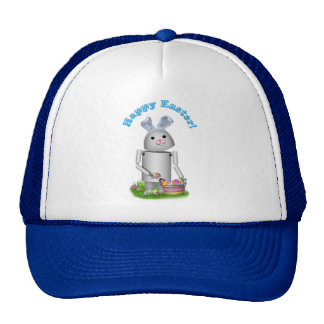 Happy Easter From Lil Robo-x9 (Blue Text) Mesh Hat