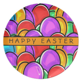HAPPY EASTER GIFT,  BOLD COLORS EASTER EGGS PLATE