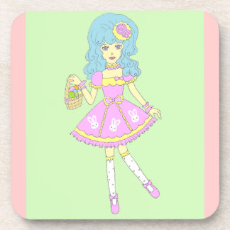 Happy Easter Girl Green Drink Coasters