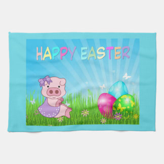 Happy Easter Girl Piggy Tea Towel