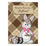 HAPPY EASTER - GIRLFRIEND - BUNNY GREETING CARD