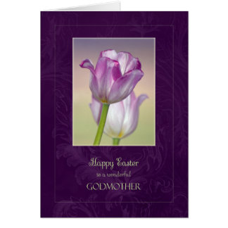 Happy Easter Godmother Card / Easter Tulips