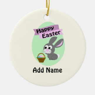 Happy Easter! Gray Bunny Christmas Ornament