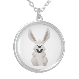 """""""HAPPY EASTER """" GRAY BUNNY SILVER PLATED NECKLACE"""