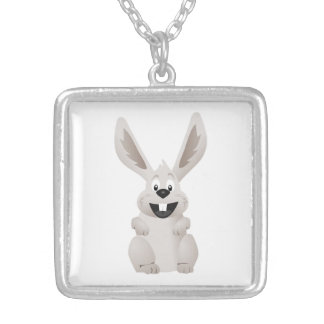 """HAPPY EASTER "" GRAY BUNNY SILVER PLATED NECKLACE"