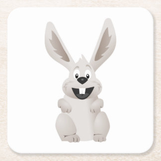 """""""HAPPY EASTER """" GRAY BUNNY SQUARE PAPER COASTER"""