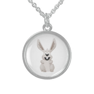 """HAPPY EASTER "" GRAY BUNNY STERLING SILVER NECKLACE"