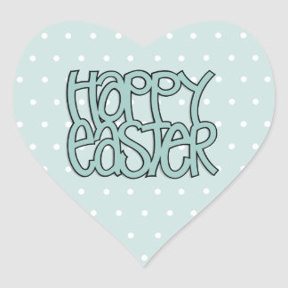 Happy Easter green dot Heart Sticker