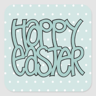 Happy Easter green dot Square Sticker