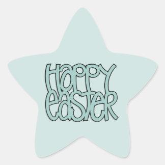 Happy Easter green Star Sticker
