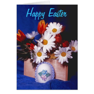 Happy Easter Greeting Card~Daisies & Tulips