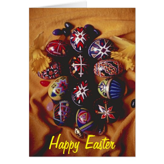Happy Easter Greeting Card~Decorative Easter Eggs Card