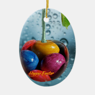 Happy Easter greeting, Cherry with colorful eggs Ceramic Oval Decoration