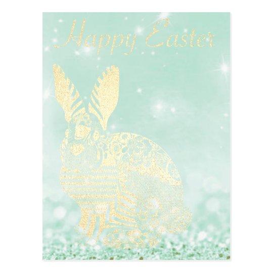 Happy Easter Greeting Rabbit Glitter Gold Mint Postcard