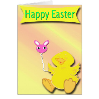 Happy Easter Happy Duck Card with Bunny Balloon