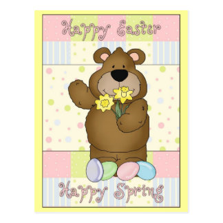 Happy Easter Happy Spring Bear with Daffodils Postcard