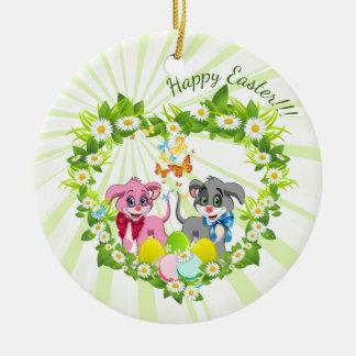 Happy Easter Heart Nose Puppies Cartoon Round Ceramic Decoration