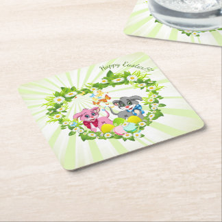 Happy Easter Heart Nose Puppies Cartoon Square Paper Coaster