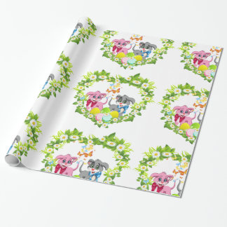 Happy Easter Heart Nose Puppies Cartoon Wrapping Paper