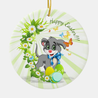 Happy Easter Heart Nose Puppy Cartoon Christmas Ornament