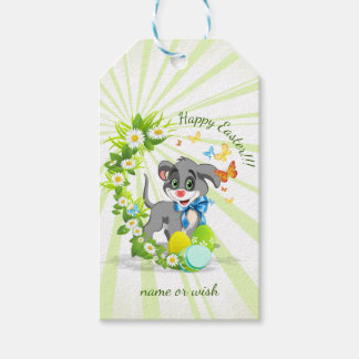 Happy Easter Heart Nose Puppy Cartoon Gift Tags