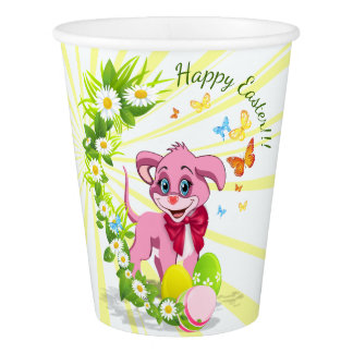 Happy Easter Heart Nose Puppy Cartoon Paper Cup