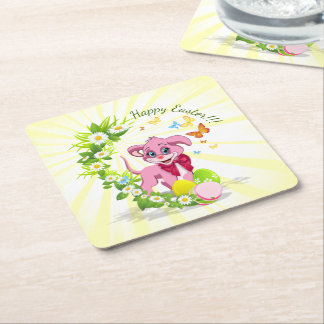 Happy Easter Heart Nose Puppy Cartoon Square Paper Coaster
