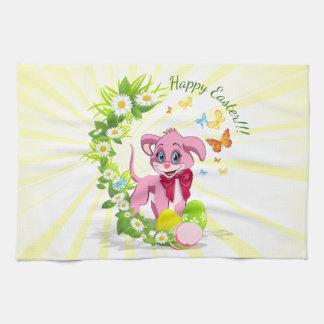 Happy Easter Heart Nose Puppy Cartoon Tea Towel