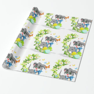 Happy Easter Heart Nose Puppy Cartoon Wrapping Paper