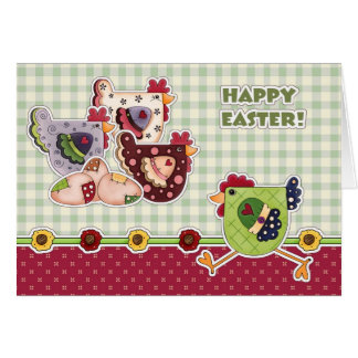 Happy Easter. Hen Country Design Greeting Cards