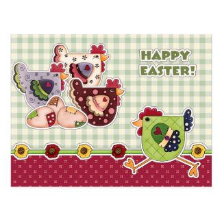Happy Easter. Hen Country Design Postcards