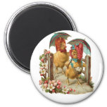 Happy Easter Hens 6 Cm Round Magnet