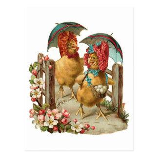 Happy Easter Hens Vintage Postcard