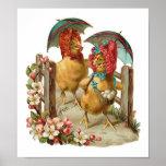 Happy Easter Hens Vintage Poster