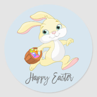 HAPPY EASTER Holiday Spring Bunny Colored Eggs Classic Round Sticker