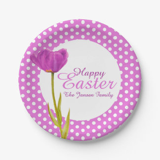 Happy Easter holidays purple party paper plate 7 Inch Paper Plate