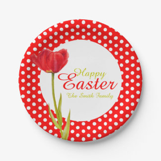 Happy Easter holidays red party paper plate