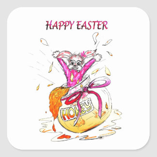 Happy Easter Honey Bunny fun pink Greeting Card Square Sticker