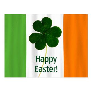 Happy Easter Irish Flag Colors Shamrock Ireland Postcard