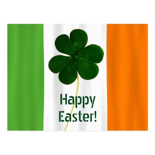 Happy Easter Irish Flag Colours Shamrock Ireland Postcard