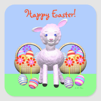 Happy Easter Lamb with Easter Eggs Square Sticker