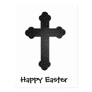 Happy Easter Leather Cross Postcard