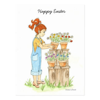 Happy Easter Little Girl Post Card