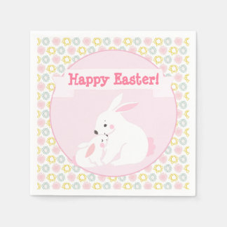Happy Easter! Mother & Baby Bunny Paper Napkin