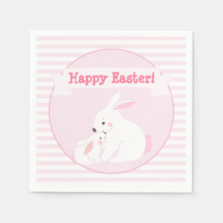 Happy Easter! |  Mother & Baby Bunny Paper Napkin