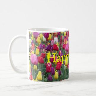 Happy Easter Multicolored Tulips Basic White Mug
