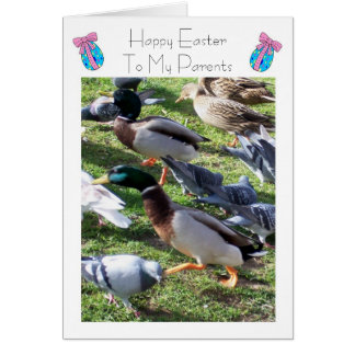 Happy Easter Mum And Dad Card - Ducks